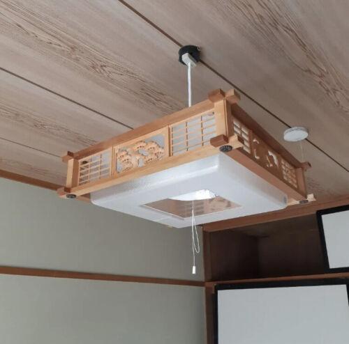 Japanese authentic pendant light lantern lamp sukashibori wooden hand carved