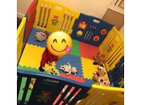 Large play pen with soft flooring