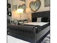 SLEIGH VELVET BED FRAME SINGLE/DOUBLE/KING SIZE WITH/WITHOUT MEMORY FOAM ORTHPADIC MATTRESS