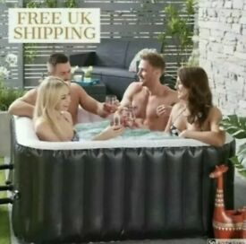 4 PERSON SQUARE BLACK HOT TUB SPA JACUZZI & ACCESSORIES - LIKE LAY-Z SPA VEGAS