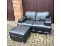 Two Seater Leather Sofa and Storage Footstool.