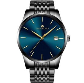 Men's Stainless Steel Blue & Black Quartz Business Wrist Watch