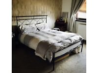 Double Black Metal Bed Frame PLUS Mattress For Sale/ Airdrie