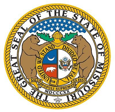 Missouri State Seal (Missouri State Seal Sticker MADE IN THE USA R9 CHOOSE SIZE FROM DROPDOWN)