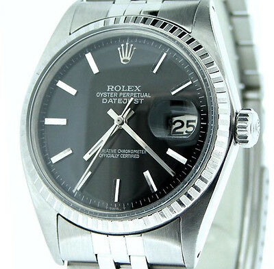 Rolex Datejust Stainless Steel Watch Jubilee Engine-Turned Bezel Black Dial 1603