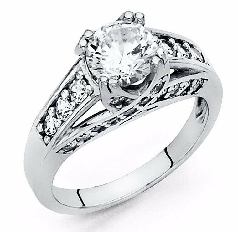 2 Ct Round Cut Diamond Engagement Ring Bridal Wedding Solid 14K White Gold