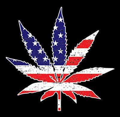 Patriotic Pot Leaf Usa Flag America Marijuana Weed Lovers Funny T Shirt Tee