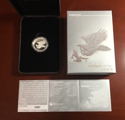 2015 Silver Wedge Tailed Eagle High Relief w Original Mint Packaging. Lot (Eagle Package)