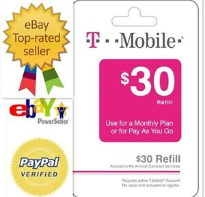 T mobile 30 top up phone refill from prepaid reload card for T mobile refill