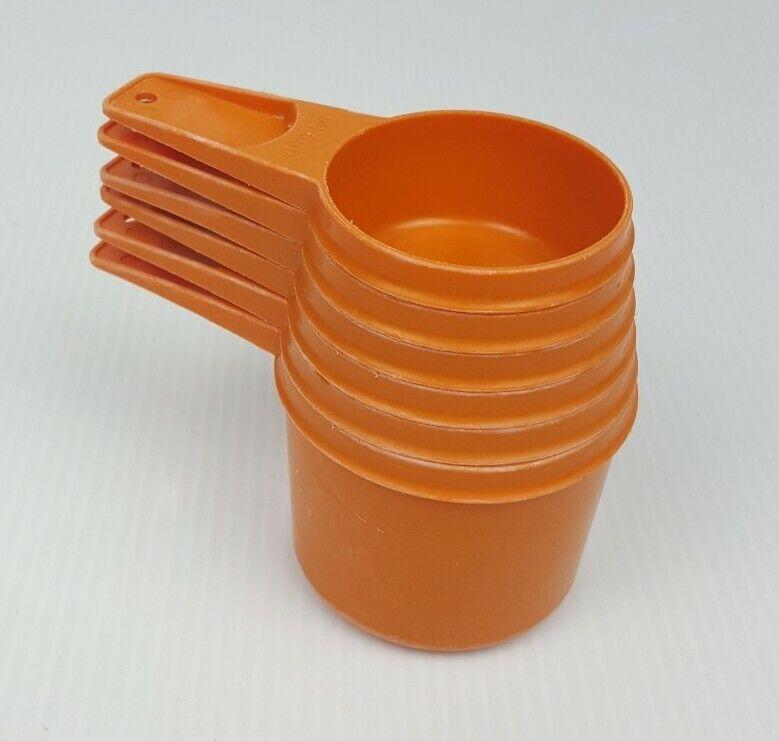 Tupperware Orange Nesting Measuring Cups Complete Set of 6