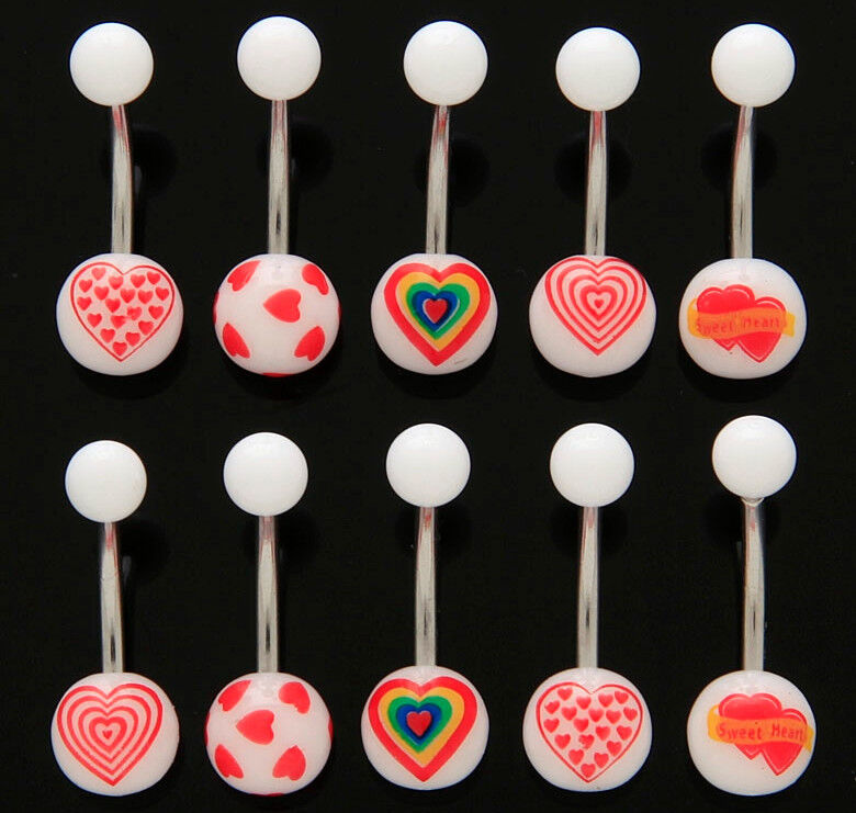 B#52 - 15pc Heart Mix Acrylic Belly Rings 14g Navel Naval