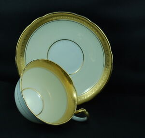 Aynsley Thickly Laden Gold Etched Banded Lavish Teacup & Saucer