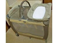 Graco Contour and Bassinet Travel Cot, Butter Scotch, Birth to 2 Years, 11kg Max.