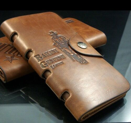 Mens-Leather-Long-Wallet-Pockets-ID-Card-Clutch-Cente-Bifold-Purse-BROWN