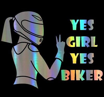 [Lot de 2] Autocollant Stickers Moto Voiture Motarde 'Yes Girl Yes Biker' Laser