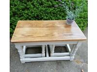 Solid oak nest of tables. Farrow and Ball