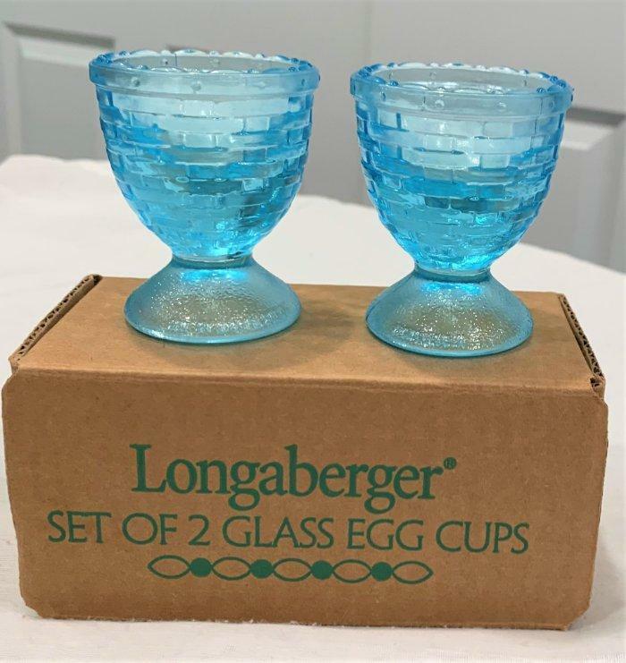 2002 Longaberger  Blue Glass Egg Cups  Basket Weave Design  USA