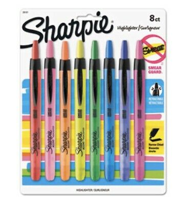 Sharpie Accent Retractable Highlighters Assorted Colors Pack Of 8