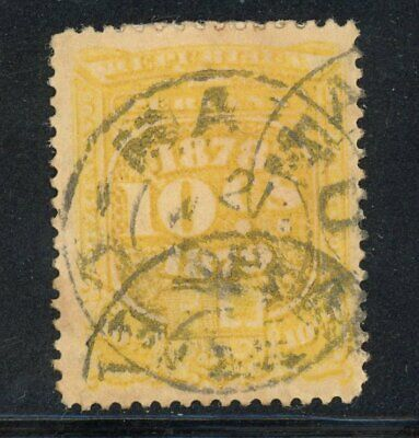 Peru-1878-1879 10c Revenue (A+M 69) Used for Postage, Possible Provisional Issue