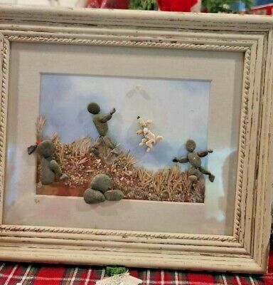 Original Nature Rock Art Stone Grass Sand White Frame 3-D 10x12