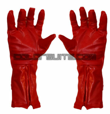 Captain America Leather Gloves (Super Hero Red Synthetic Leather Gloves captain america)