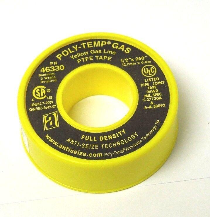 "Anti-Seize 46330 POLY-TEMP® Yellow Gas Line PTFE Tape 1/2"" X 260"" <048ER05"