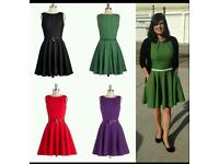 Purple vintage style flared dress brand new size 12-14