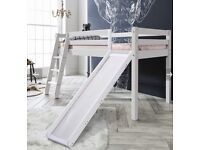 Solid wood white cabin bed with slide. New in box.