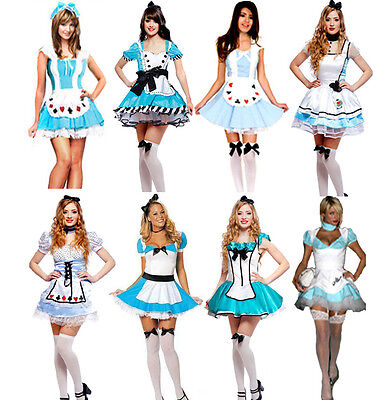 Alice Wonderland Fancy Dress (Alice in Wonderland Fancy Dress Costume Outfit UK Size 8 10 12 14 16 18)