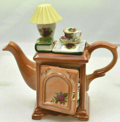 """RARE Old Country Roses One Cup Teapot """"BEDSIDE CABINET"""" by Royal Albert"""