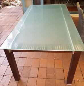 URGENT: Glass and timber dining table - Table only Willoughby Willoughby Area Preview