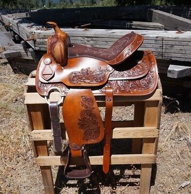 """16"""" CLASSIC TOOLED WESTERN BARREL RODEO SHOW HORSE TRAIL LEATHER  SADDLE TACK"""