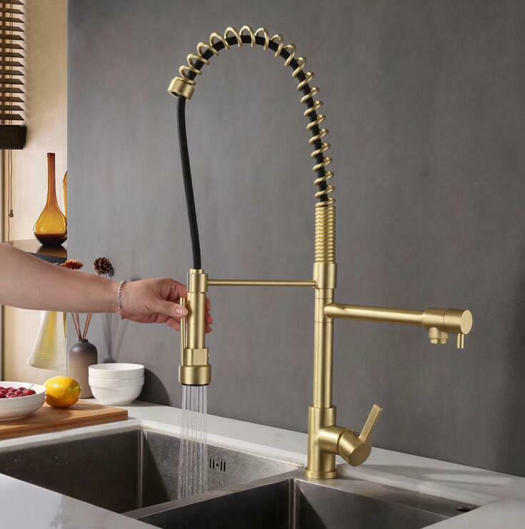 Details About Brushed Gold Black Brass Kitchen Sink Faucet Dual Handles Double Hole Mixer Tap