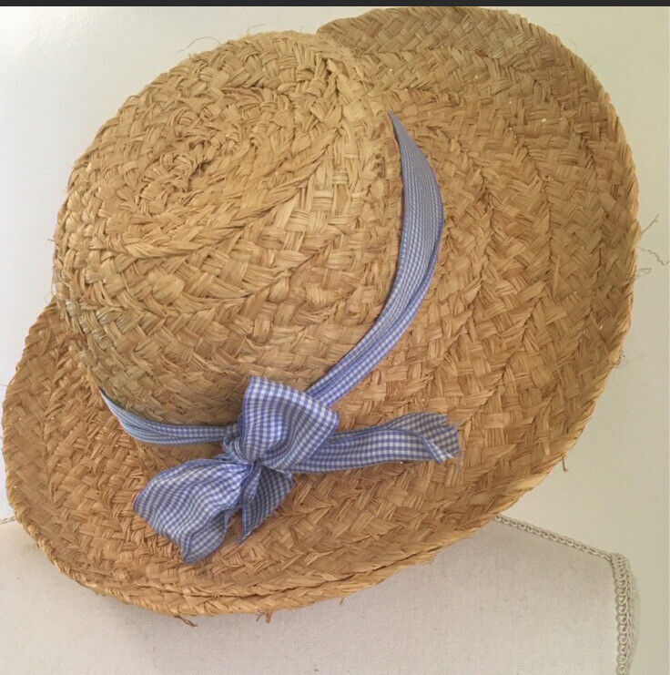 Cottagecore Vintage French Country Straw Hat Blue Gingham Bow