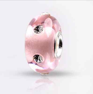 5p Set auger SILVER MURANO GLASS BEAD LAMPWORK Fit European Charm Bracelet B466