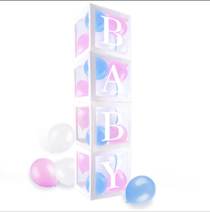 Transparent Boxes Baby Shower and Gender Reveal Party Decoration