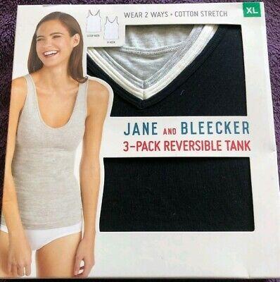 Jane and Bleecker 3 Pack Reversible Tank Tops New Grey/Black/White