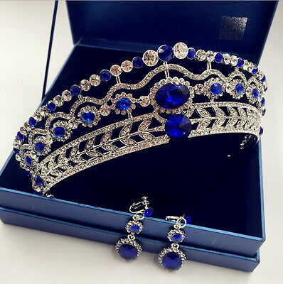 5cm High Crystal Tiara Earrings Set Wedding Party Pageant Prom Crown - 4 Colors