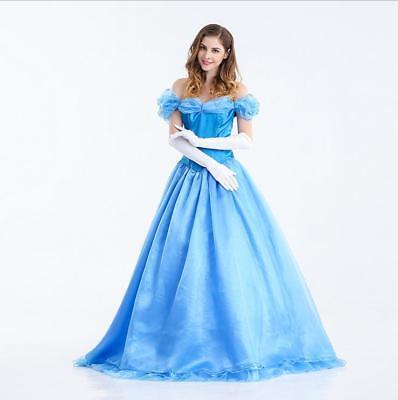 Blaue Prinzessin Kleid Damen Abendkleid Cosplay Karneval Cinderella Kostüm (Cinderella Kleid Damen)