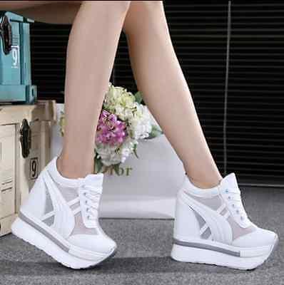 Women Sneaker Sandals Peep-toe Wedges Platform Shoes Lace Up Creeper High Heels