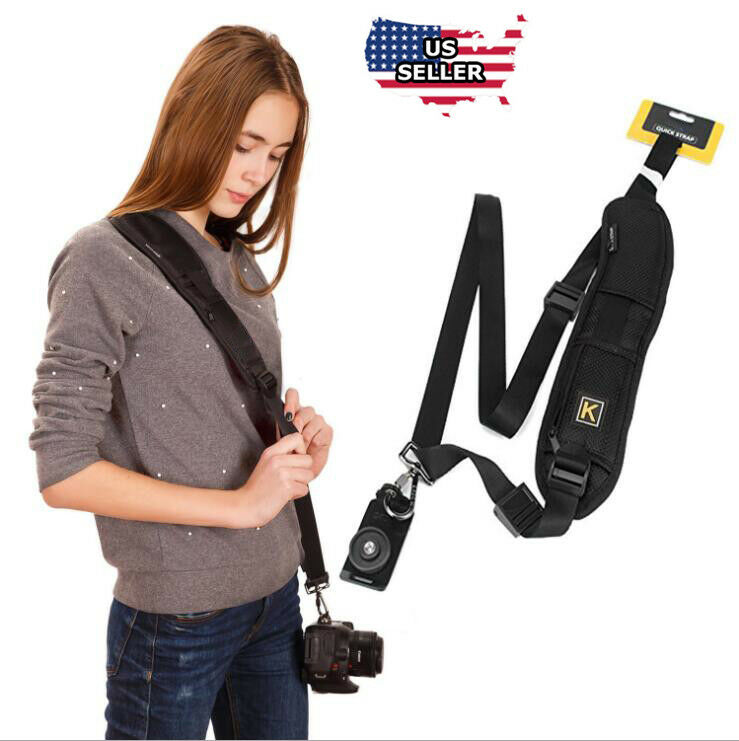 Quick Black  Camera Neck Strap Shoulder Belt Sling for DSLR Digital SLR