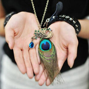 NEW Vintage Peacock Feather Pendant Long Chain Womens Sweater Necklace Jewelry A