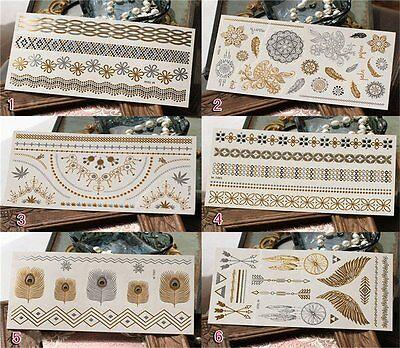 6 Sheet Gold Silver Metallic Flash Temporary Tattoo Inspired Body Makeup Sticker on Rummage