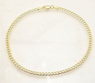 """10"""" Italian Solid Cuban Curb Ankle Bracelet Anklet 14K Yellow Gold Clad Silver"""
