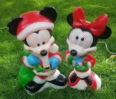 "Mickey and Minnie Mouse Blow Mold Disney Vintage 18"" Christmas Decor"