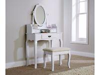 Lumberton White Dressing Table And Stool Set