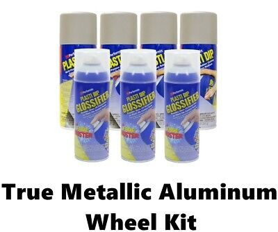 Performix Plasti Dip Wheel Kit 4 True Metallic Aluminum 3 Cans Glossifier Gloss