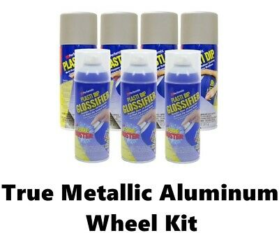 Performix Plasti Dip Wheel Kit 4 True Metallic Aluminum 3 Cans Glossifier Gloss