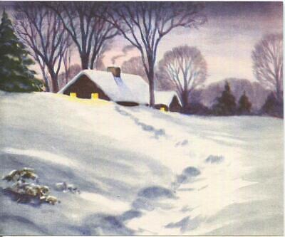 VINTAGE CHRISTMAS RUSTIC HEAVY SNOW PINE TREE BARE TREES HOUSE GREETING ART CARD