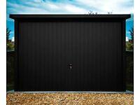 Metal garage 3mx5m 10ft x 17ft Matt black up-and-over door   Steel garage